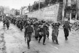 Rudder's 2nd Rangers outside of Cherbourg