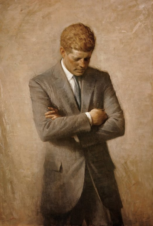 Aaron Shikler's famous painting of John F. Kennedy, based on a candid photograph taken by White House photographer Jacques Lowe.